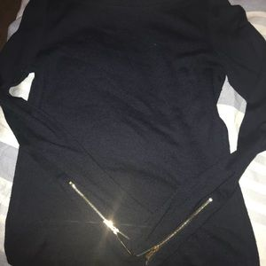 Navy Ann Taylor top with zipper sleeves